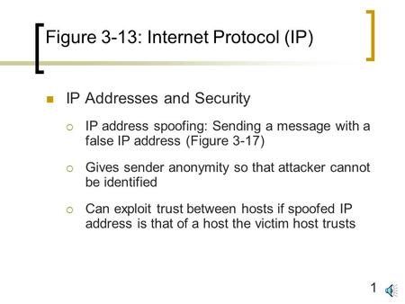 1 Figure 3-13: Internet Protocol (IP) IP Addresses and Security  IP address spoofing: Sending a message with a false IP address (Figure 3-17)  Gives.