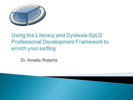 Using the Literacy and Dyslexia-SpLD Professional Development Framework to enrich your setting Dr. Amelia Roberts.