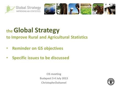 CIS meeting Budapest 3-4 July 2013 Christophe Duhamel the Global Strategy to Improve Rural and Agricultural Statistics Reminder on GS objectives Specific.