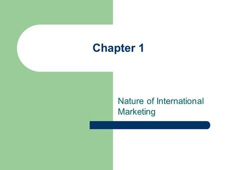 Chapter 1 Nature of International Marketing. Challenges and Opportunities Process of International Marketing International Dimensions of Marketing Domestic.