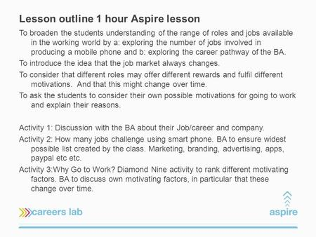 Lesson outline 1 hour Aspire lesson To broaden the students understanding of the range of roles and jobs available in the working world by a: exploring.