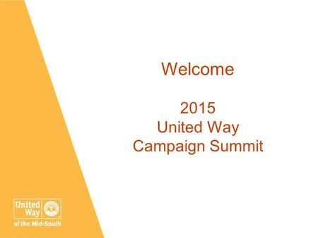 TitleJanuary 16, 2016 1 Welcome 2015 United Way Campaign Summit.