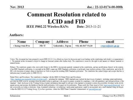 Doc.: 22-13-0174-00-000b Submission Comment Resolution related to LCID and FID Nov. 2013 Chang-woo Pyo (NICT)Slide 1 IEEE P802.22 Wireless RANs Date: 2013-11-21.