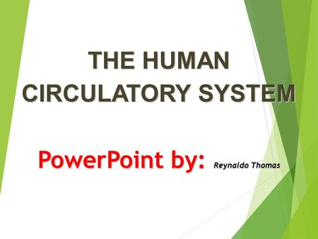 THE HUMAN CIRCULATORY SYSTEM PowerPoint by: Reynaldo Thomas.