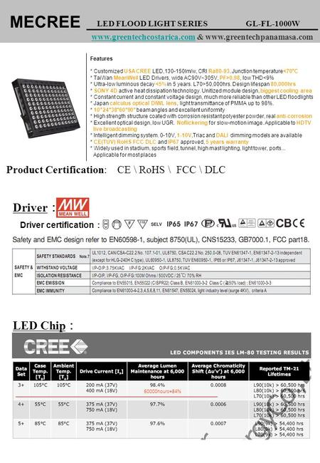Driver certification : Product Certification: MECREE LED FLOOD LIGHT SERIES GL-FL-1000W www.greentechcostarica.com & www.greentechpanamasa.comwww.greentechcostarica.com.