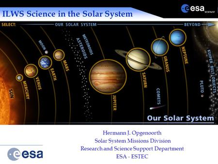 Solar System Missions Division ILWS Science in the Solar System Hermann J. Opgenoorth Solar System Missions Division Research and Science Support Department.