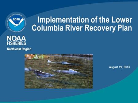Implementation of the Lower Columbia River Recovery Plan Northwest Region August 19, 2013.