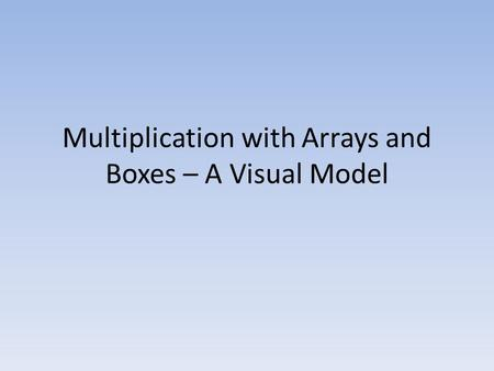 Multiplication with Arrays and Boxes – A Visual Model.