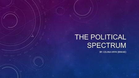 THE POLITICAL SPECTRUM BY: CELINA KRYK (BNK4E). The political spectrum is a chart of some sort that is used to define an individual's party affiliation.