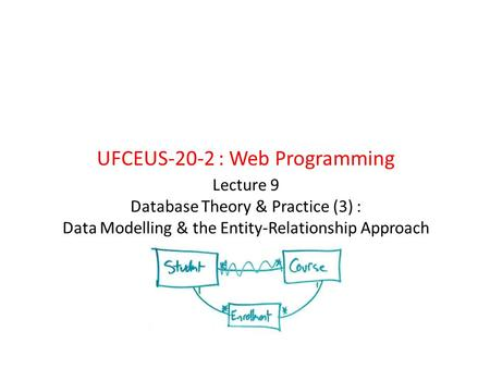 Lecture 9 Database Theory & Practice (3) : Data Modelling & the Entity-Relationship Approach UFCEUS-20-2 : Web Programming.