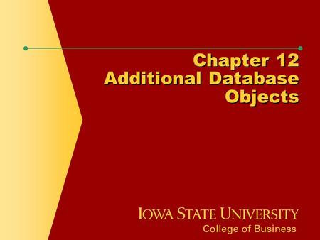 Chapter 12 Additional Database Objects. Chapter Objectives  Define the purpose of a sequence and state how it can be used by an organization  Explain.