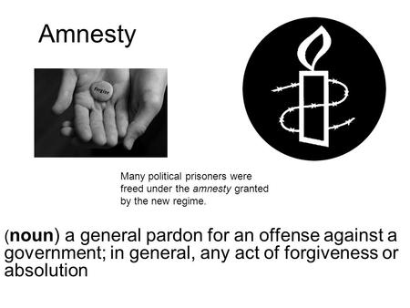 Amnesty ( noun) a general pardon for an offense against a government; in general, any act of forgiveness or absolution Many political prisoners were freed.