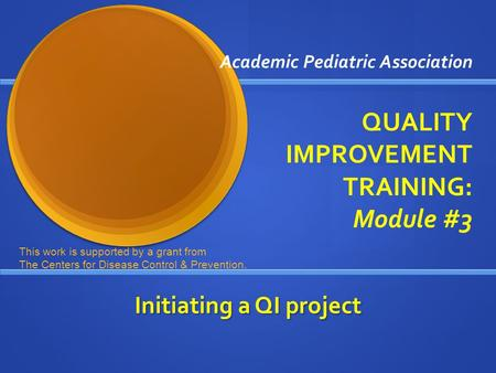 Academic Pediatric Association QUALITY IMPROVEMENT TRAINING: Module #3 Initiating a QI project This work is supported by a grant from The Centers for Disease.