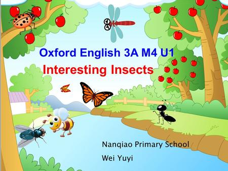 Interesting Insects Oxford English 3A M4 U1 Nanqiao Primary School Wei Yuyi.