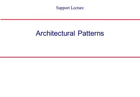 Architectural Patterns Support Lecture Patterns Pattern: A representation of a proven solution. Problem Applicable Forces Solution Consequences Benefits.