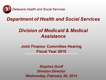Department of Health and Social Services Division of Medicaid & Medical Assistance Joint Finance Committee Hearing Fiscal Year 2015 Stephen Groff Division.