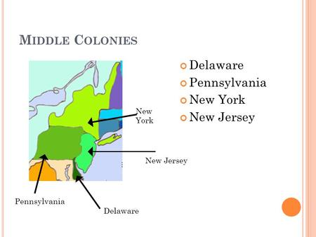 M IDDLE C OLONIES Delaware Pennsylvania New York New Jersey Delaware New Jersey New York Pennsylvania.