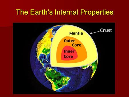 The Earth's Internal Properties. I. Seismic Waves A. = Earthquake-generated waves traveling through the Earth's interior B. Give us clues to the composition.