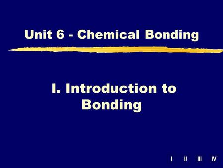 IIIIIIIV Unit 6 - Chemical Bonding I. Introduction to Bonding.