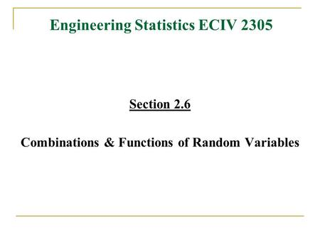 Engineering Statistics ECIV 2305