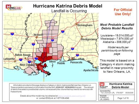 Information provided on this page displays a Category 4 storm making landfall near New Orleans, LA. These projections are based on information from the.