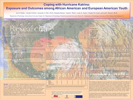 Coping with Hurricane Katrina: Exposure and Outcomes among African American and European American Youth Ian K.Villalta 1, Claudio D.Ortiz 2, Armando A.