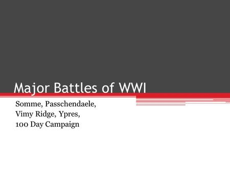 Major Battles of WWI Somme, Passchendaele, Vimy Ridge, Ypres, 100 Day Campaign.