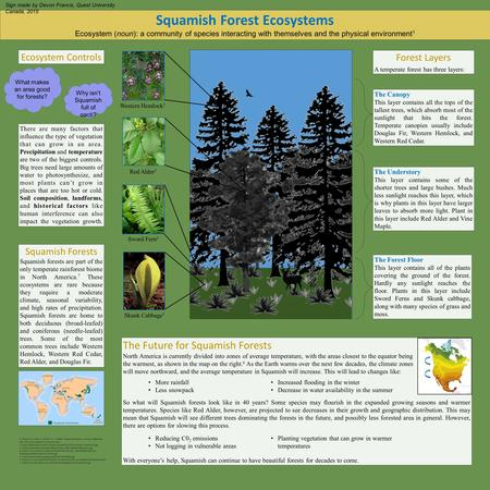 Squamish Forest Ecosystems Ecosystem (noun): a community of species interacting with themselves and the physical environment 1 Ecosystem Controls Squamish.