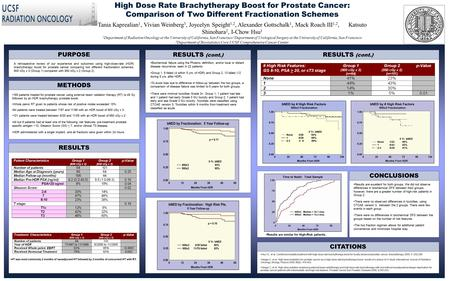 High Dose Rate Brachytherapy Boost for Prostate Cancer: Comparison of Two Different Fractionation Schemes Tania Kaprealian 1, Vivian Weinberg 3, Joycelyn.