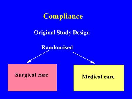 Compliance Original Study Design Randomised Surgical care Medical care.