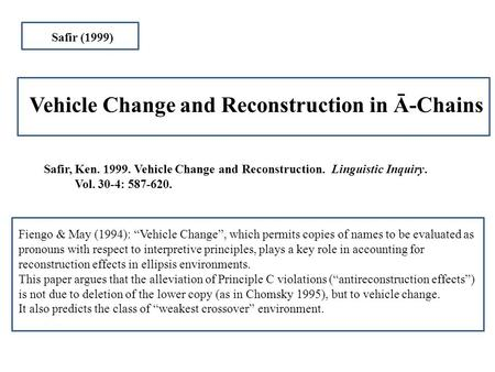 Safir, Ken. 1999. Vehicle Change and Reconstruction. Linguistic Inquiry. Vol. 30-4: 587-620. Vehicle Change and Reconstruction in Ā-Chains Safir (1999)