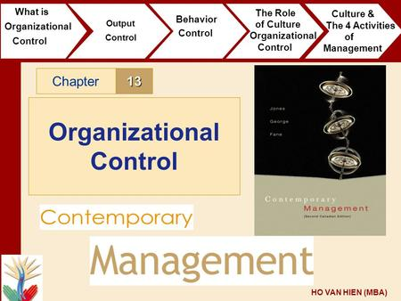 HO VAN HIEN (MBA) 13Chapter Organizational Control What is Organizational Control Output Control Behavior Control The Role of Culture Organizational Control.