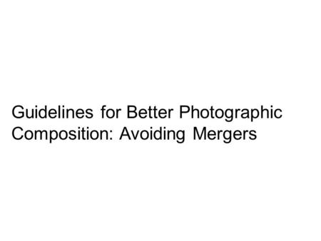 Guidelines for Better Photographic Composition: Avoiding Mergers.