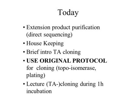 Today Extension product purification (direct sequencing) House Keeping Brief intro TA cloning USE ORIGINAL PROTOCOL for cloning (topo-isomerase, plating)