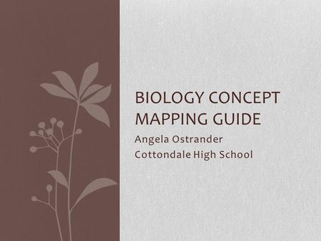 Angela Ostrander Cottondale High School BIOLOGY CONCEPT MAPPING GUIDE.