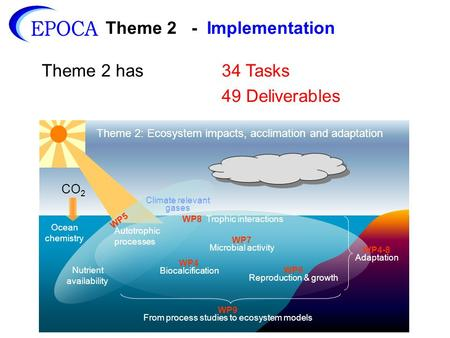 Theme 2 - Implementation Theme 2 has34 Tasks 49 Deliverables CO 2 Theme 2: Ecosystem impacts, acclimation and adaptation WP5 WP8 Trophic interactions Climate.