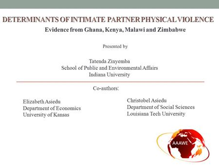 Co-authors : Elizabeth Asiedu Department of Economics University of Kansas Tatenda Zinyemba School of Public and Environmental Affairs Indiana University.