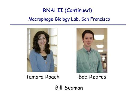 Macrophage Biology Lab, San Francisco Tamara Roach Bob Rebres RNAi II (Continued) Bill Seaman.