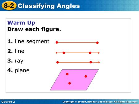 Warm Up Draw each figure. 1. line segment 2. line 3. ray 4. plane Course 2 8-2 Classifying Angles.