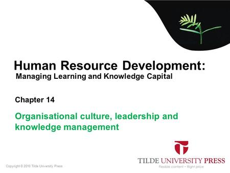 Managing Learning and Knowledge Capital Human Resource Development: Chapter 14 Organisational culture, leadership and knowledge management Copyright ©