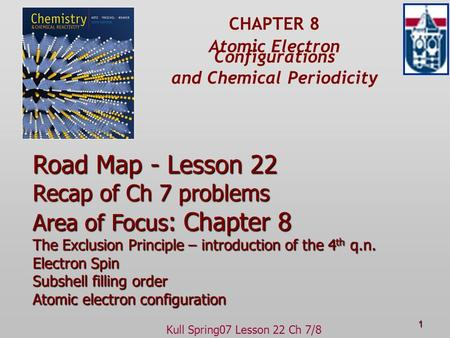 Kull Spring07 Lesson 22 Ch 7/8 1 CHAPTER 8 Atomic Electron Configurations and Chemical Periodicity Road Map - Lesson 22 Recap of Ch 7 problems Area of.
