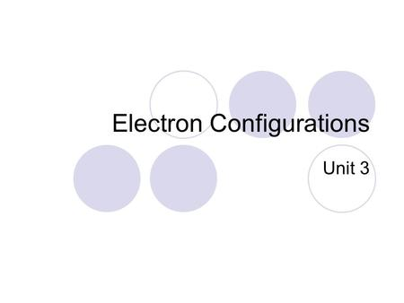 Electron Configurations Unit 3. What are electron configurations? According to the wave mechanical model, the electrons in an atom move around in the.