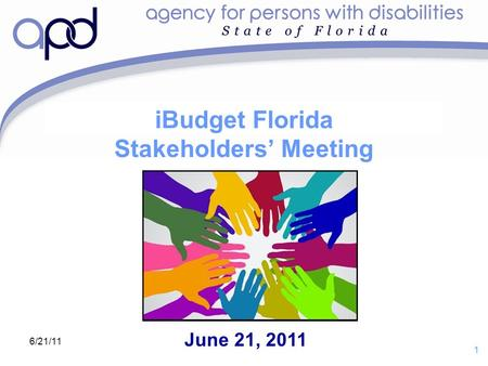 Draft for purposes of discussion with iBudget Florida Stakeholders' Group 1 6/21/11 iBudget Florida Stakeholders' Meeting June 21, 2011.