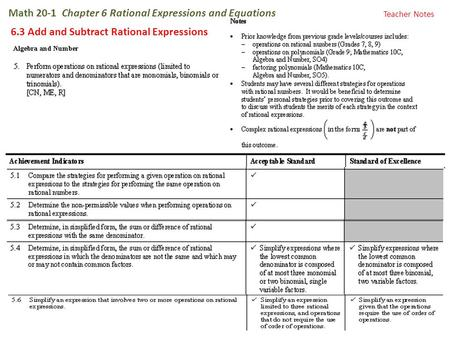 Math 20-1 Chapter 6 Rational Expressions and Equations 6.3 Add and Subtract Rational Expressions Teacher Notes.