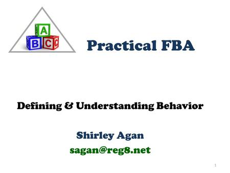 Defining & Understanding Behavior Shirley Agan 1 Practical FBA.