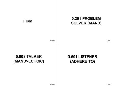 FIRM 0.201 PROBLEM SOLVER (MAND) 0.002 TALKER (MAND>ECHOIC) 0.601 LISTENER (ADHERE TO) Unit 1.