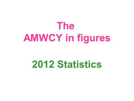 The AMWCY in figures 2012 Statistics. How many we are? 554 353 members and supporters 172 254 members 3 028 grass root groups 311 associations 24 countries.