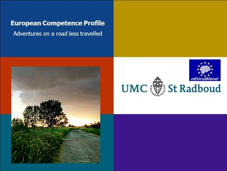 European Competence Profile Adventures on a road less travelled.