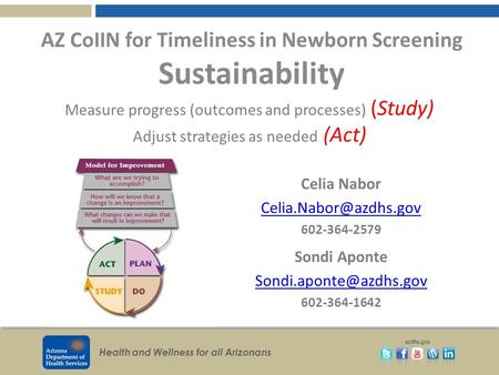 Health and Wellness for all Arizonans azdhs.gov AZ CoIIN for Timeliness in Newborn Screening Sustainability Celia Nabor 602-364-2579.