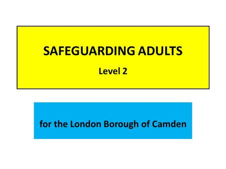 SAFEGUARDING ADULTS Level 2 for the London Borough of Camden.